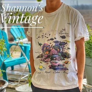 Vintage Hawaii reef single stitch XL tee A32.